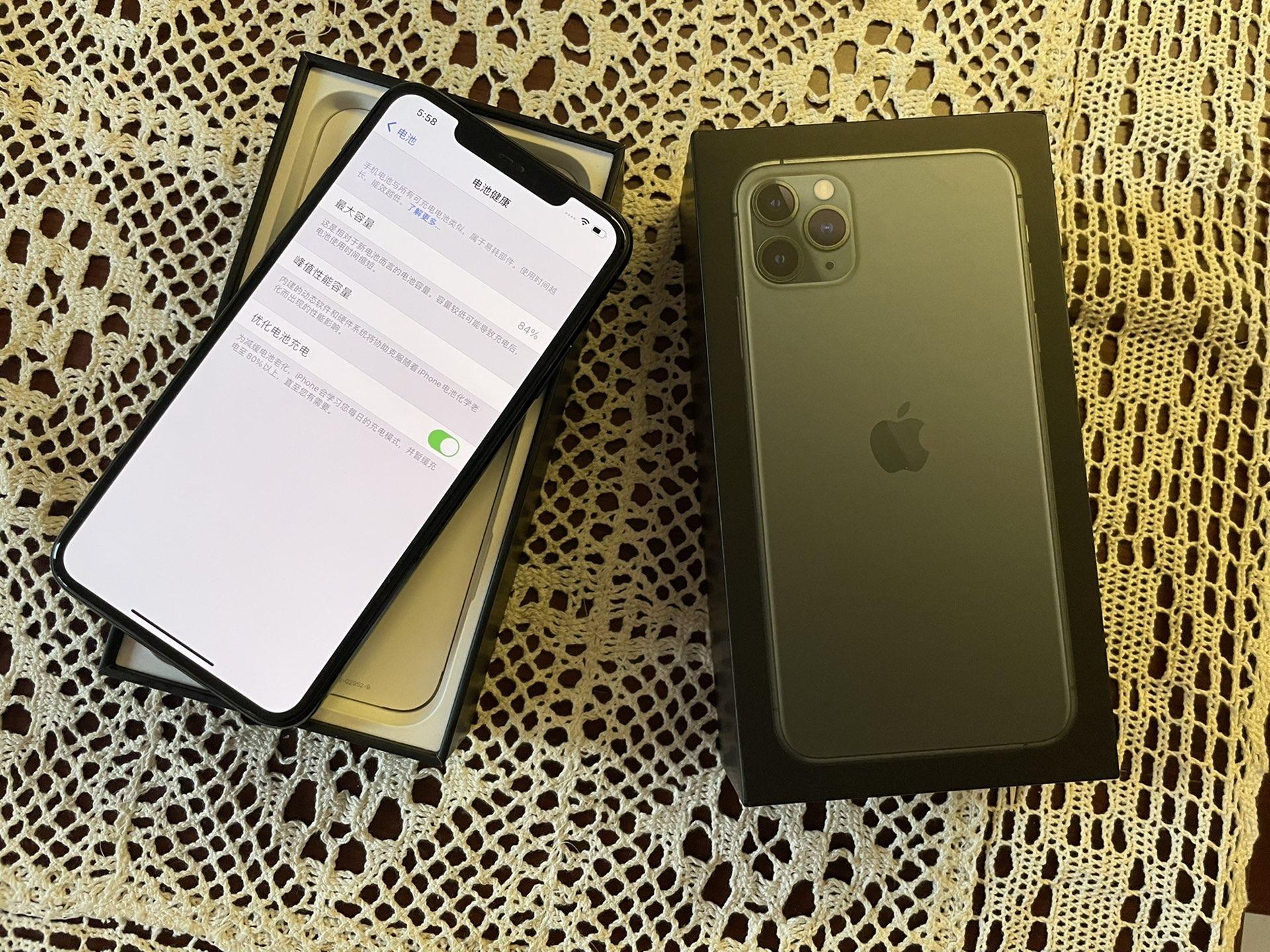 苹果11pro Max国行暗夜绿256G,无拆无修,使用一年多,保养较好