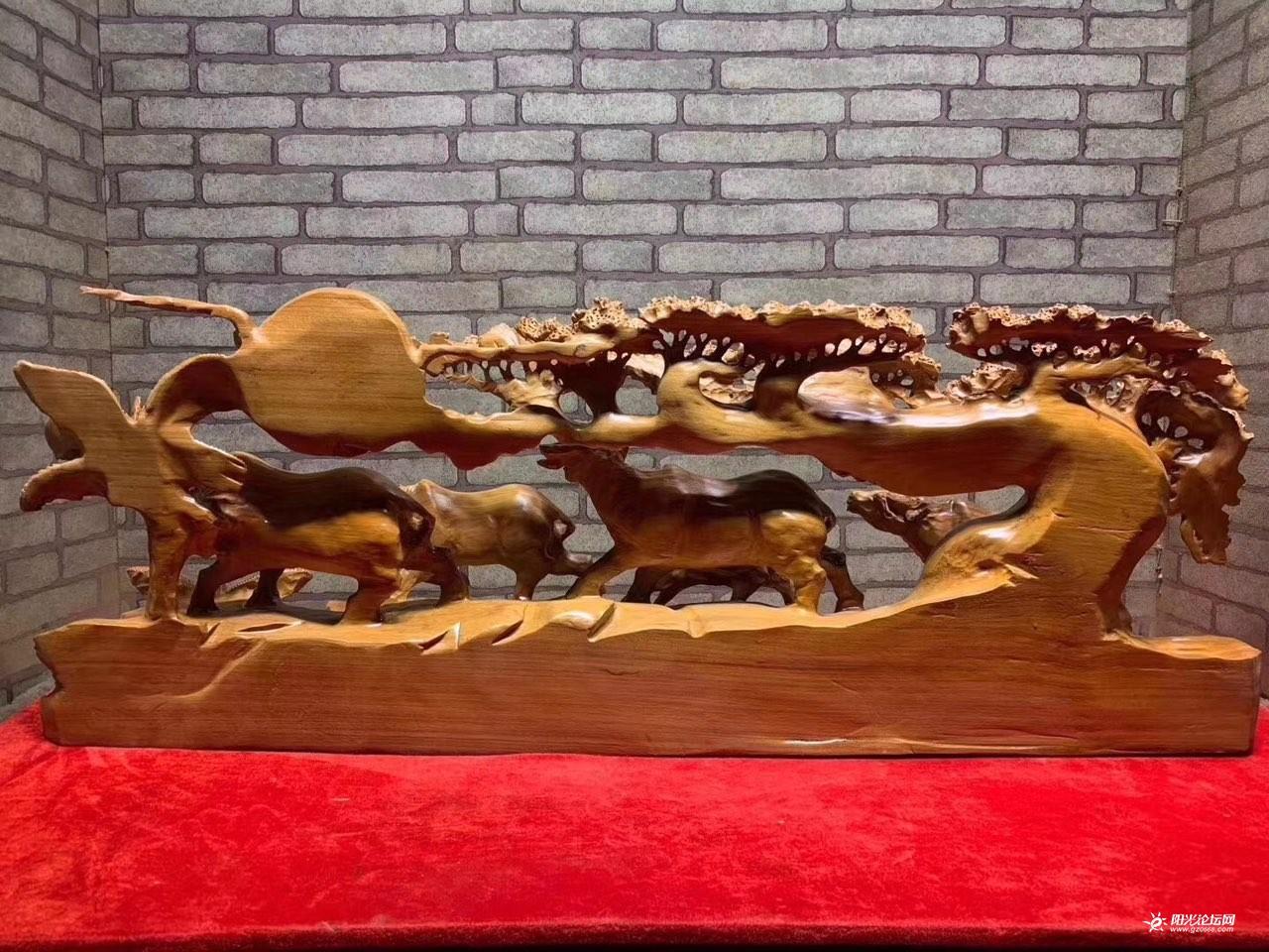 花梨木精品动物摆件(五牛纳福)图2